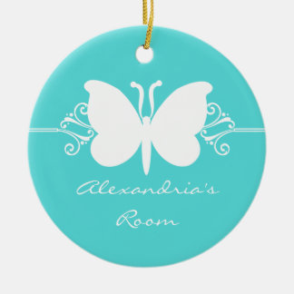 Turquoise Butterfly Swirls Door Hanger Ornament