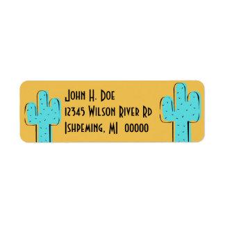 Turquoise Cactus Southwestern Address Labels