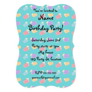 Turquoise cake pattern 13 cm x 18 cm invitation card