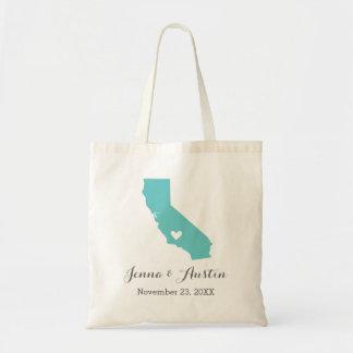 Turquoise California Wedding Welcome Tote Bag