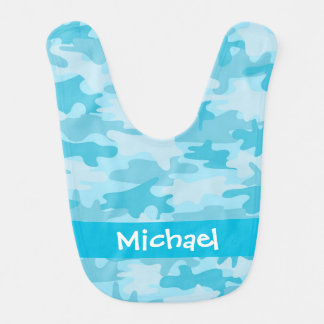 Turquoise Camo Camouflage Name Personalized Bibs