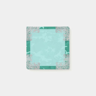 Turquoise Camo with Faux Glitter Post-it® Notes