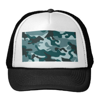 Turquoise Camouflage pattern Cap