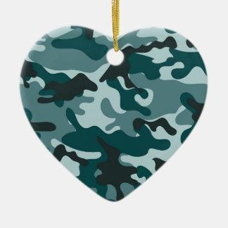 Turquoise Camouflage pattern Ceramic Heart Decoration