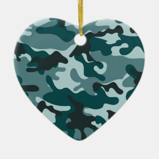 Turquoise Camouflage pattern Christmas Ornament