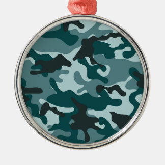 Turquoise Camouflage pattern Silver-Colored Round Decoration