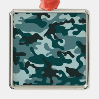 Turquoise Camouflage pattern Silver-Colored Square Decoration