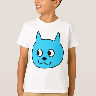 Turquoise Cartoon Cat. T-Shirt