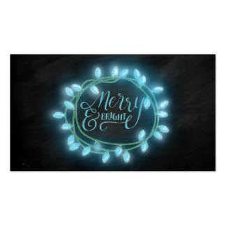 Turquoise Chalk Drawn Merry and Bright Holiday Pack Of Standard Business Cards