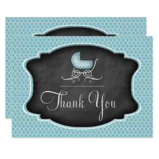 Turquoise ChalkboardBaby Stroller Shower Thank You 11 Cm X 16 Cm Invitation Card
