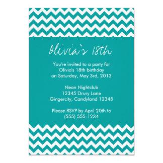Turquoise Chevron Birthday Invitation