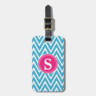 Turquoise Chevron Custom Monogram Luggage Tag