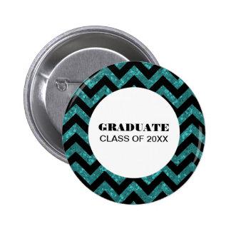 Turquoise Chevron Glitter Graduation Button