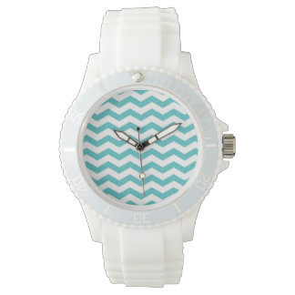 Turquoise chevron zig zag nautical zigzag pattern watch