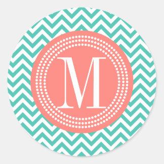 Turquoise Chevron Zigzag Personalized Monogram Round Sticker