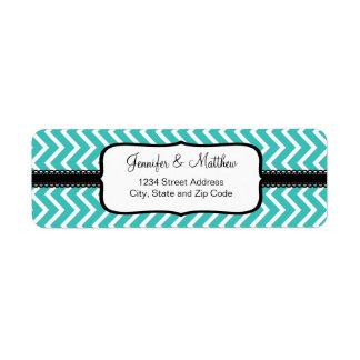 Turquoise Chevron Zigzag Stripes Return Address Label