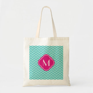 Turquoise Chevron Zigzag Stripes with Monogram Tote Bag