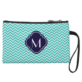 Turquoise Chevron Zigzag Stripes with Monogram Wristlet