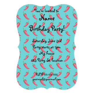 Turquoise chili peppers pattern 13 cm x 18 cm invitation card