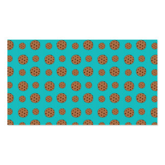 Turquoise chocolate chip cookies pattern business card templates
