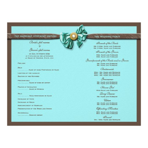 Turquoise chocolate wedding program bow flyers