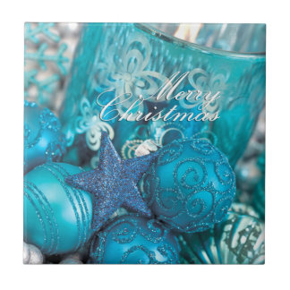 Turquoise Christmas Ceramic Tile