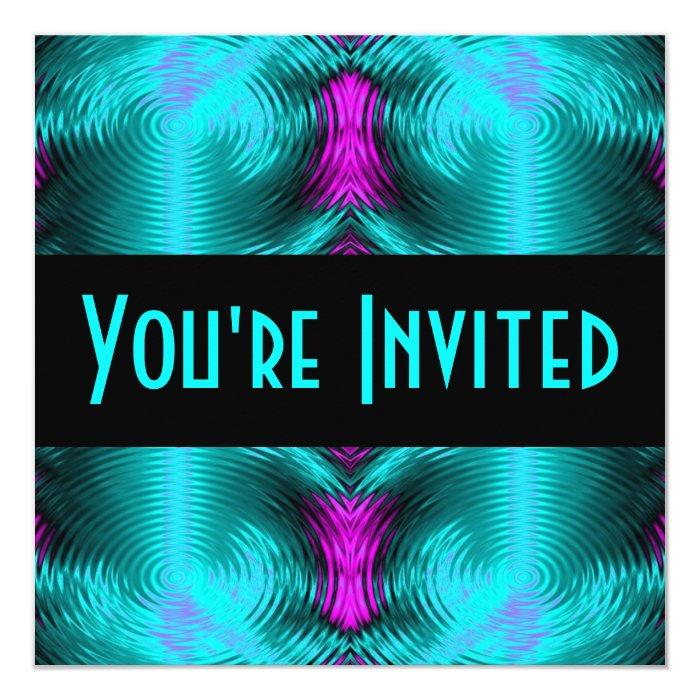 turquoise circles 13 cm x 13 cm square invitation card