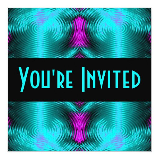 turquoise circles 13 cm x 13 cm square invitation card