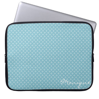 turquoise circles personalized by name computer sleeve