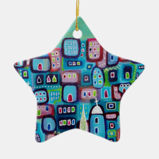 Turquoise City Ceramic Star Decoration