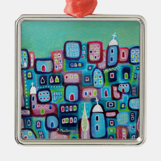 Turquoise City Silver-Colored Square Decoration