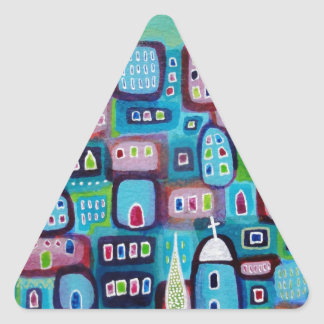 Turquoise City Triangle Sticker