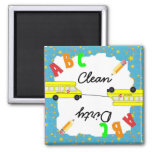 Turquoise Clean & Dirty School Bus Dishwasher Fridge Magnets