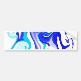 Turquoise & Cobalt Blue Abstract Swirl Pattern Bumper Sticker