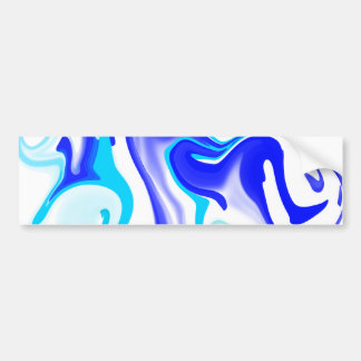 Turquoise & Cobalt Blue Abstract Swirl Pattern Car Bumper Sticker