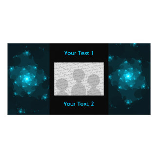 Turquoise Color Abstract Fractal Personalized Photo Card