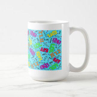 Turquoise Colorful Electronic Texting Art Abbrevia Mugs