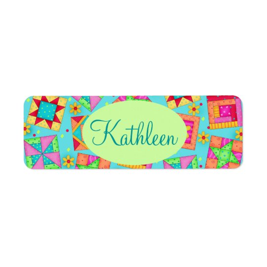 Turquoise Colourful Patchwork Quilt Block Custom