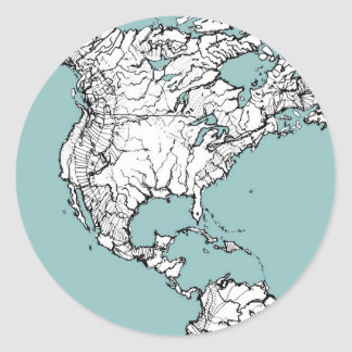 Turquoise continents round sticker
