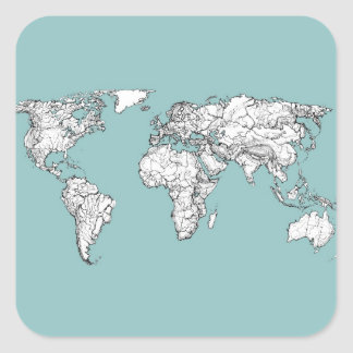 Turquoise continents square sticker