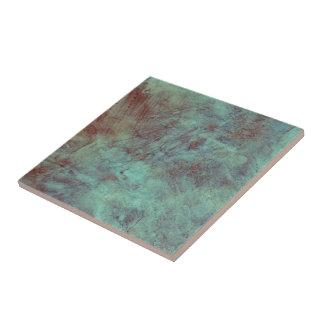 Turquoise Copper Textured Grunge Tile