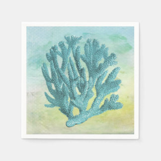 Turquoise Coral Branch Disposable Napkin