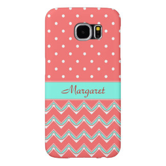 Turquoise, Coral  Polka dots and Chevron pattern Samsung Galaxy S6 Cases