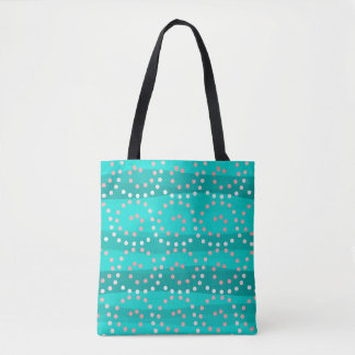 Turquoise & Coral Waves All-Over-Print Tote