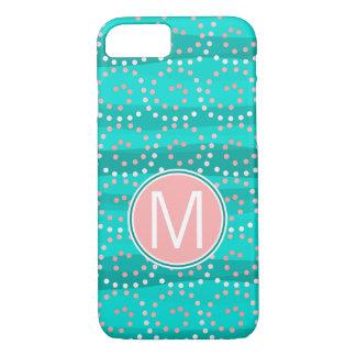 Turquoise & Coral Waves Monogram Phone Case