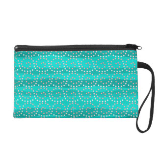 Turquoise & Coral Waves Wristlet/Cosmetic Bag