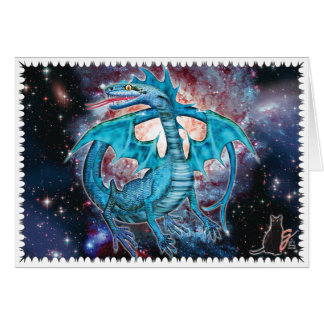 Turquoise Cosmic Dragon Greeting Card