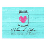 Turquoise country chic mason jar thank you cards postcard