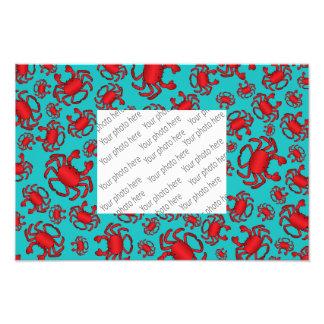 Turquoise crab pattern photo print