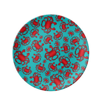 Turquoise crab pattern plate